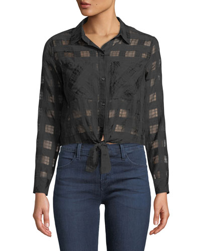 Kelsey Cropped Tie-Front Check Shirt