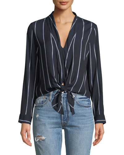 Ava V-Neck Tie-Front Striped Top