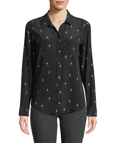 Kate Lipstick-Print Silk Button-Down Top