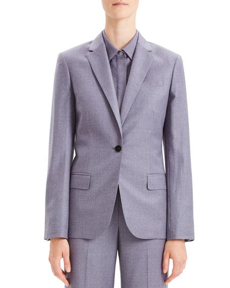 Tailored Flannel Single-Button Wool Staple Blazer in Lavender Melange