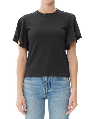 Anise Flutter-Sleeve Cropped Cotton Tee