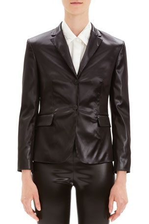 Theory Shrunken Glossy Two-Button Jacket