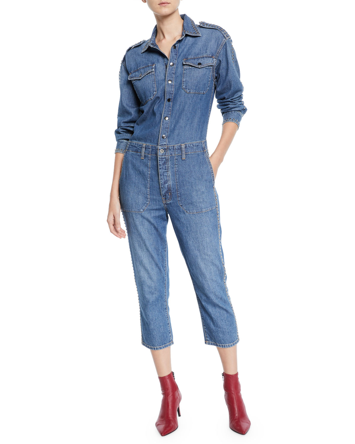 aae3dd10d22 Current Elliott The Crew Coverall Cropped Denim Jumpsuit