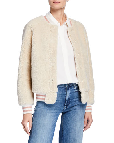 The Snap Letterman Faux-Fur Bomber Jacket