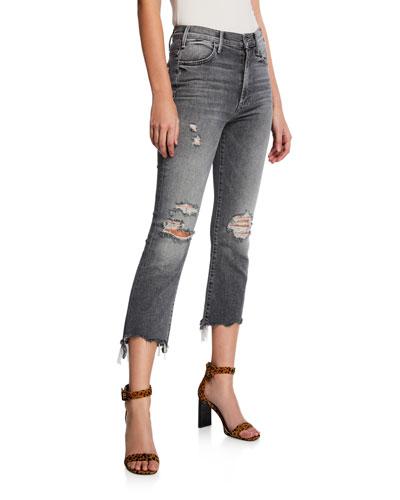 The Hustler Crop Step Chewed-Hem Jeans