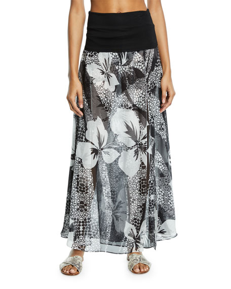 MARIE FRANCE VAN DAMME Double-Layer Floral Silk Palazzo Skirt in Multi