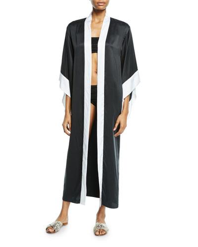Open-Front Silk Coverup Kimono