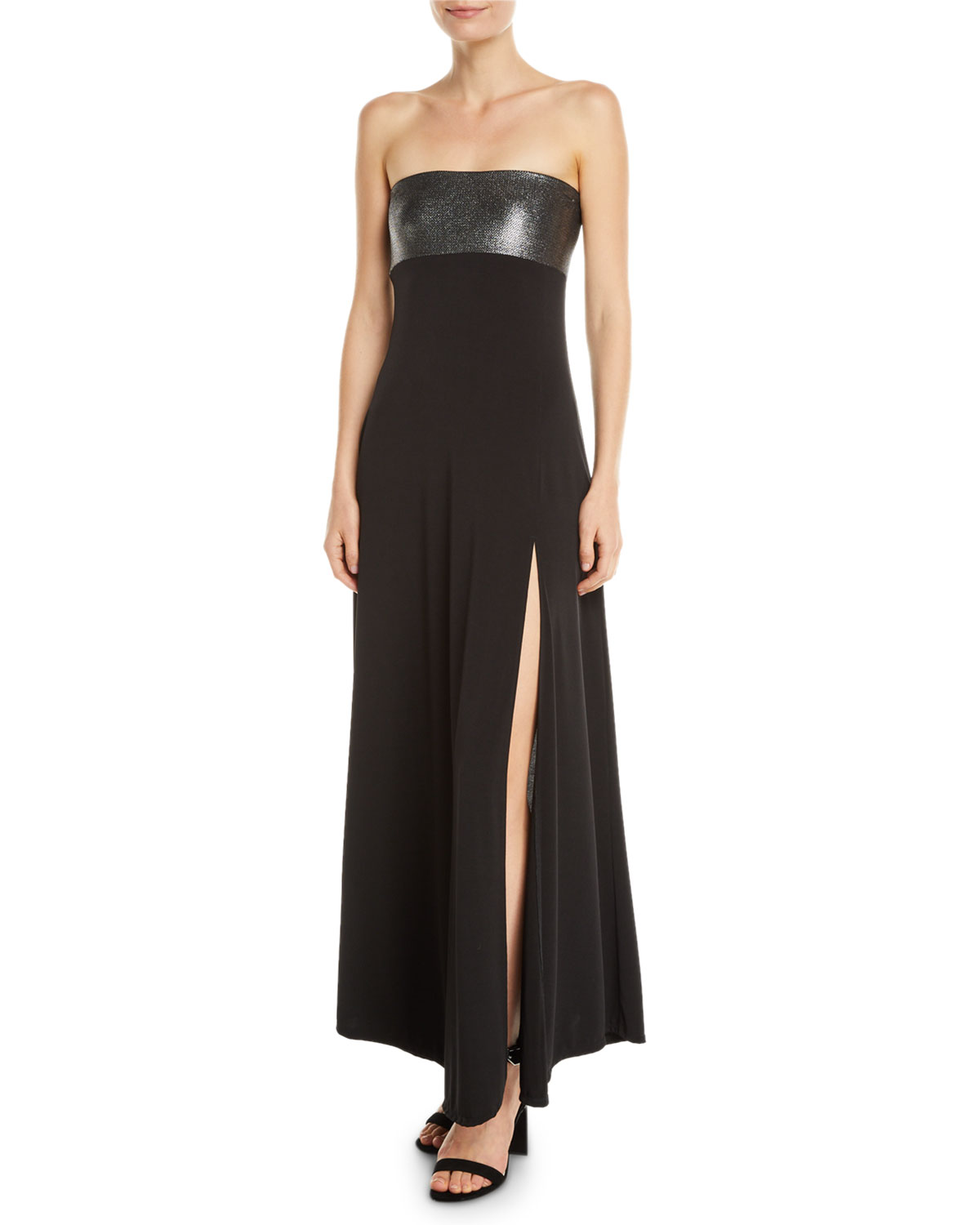 Marie France Van Damme Strapless Metallic Coverup Maxi ...