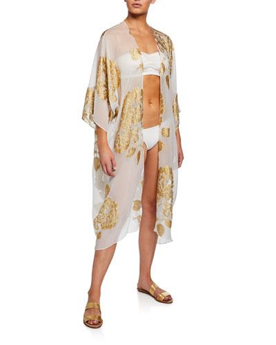 Babani Woven Silk Metallic Coverup Caftan