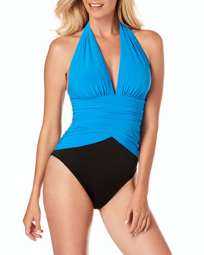 Jenn Ruched Colorblock Halter One-Piece Swimsuit