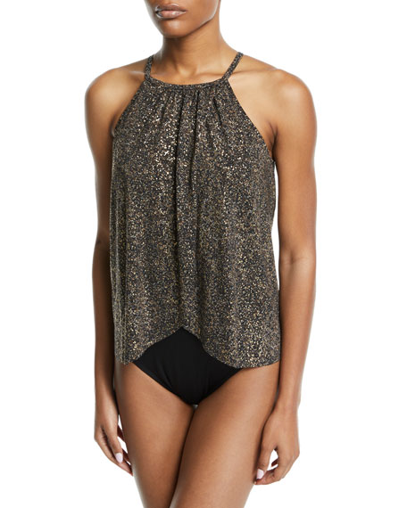 MAGICSUIT Aubrey High-Neck Metallic One-Piece Swimsuit in Black