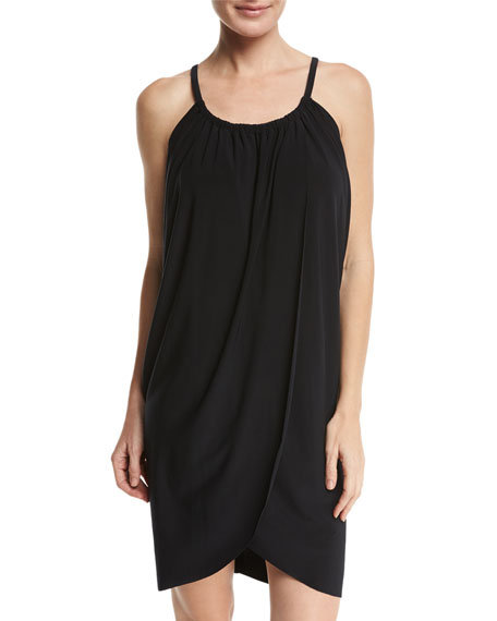 MAGICSUIT Draped Jersey Coverup Dress in Black