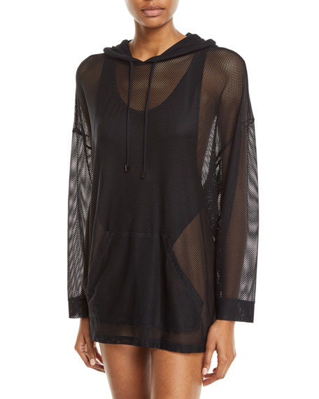MAGICSUIT Oversized Mesh Coverup Hoodie in Black