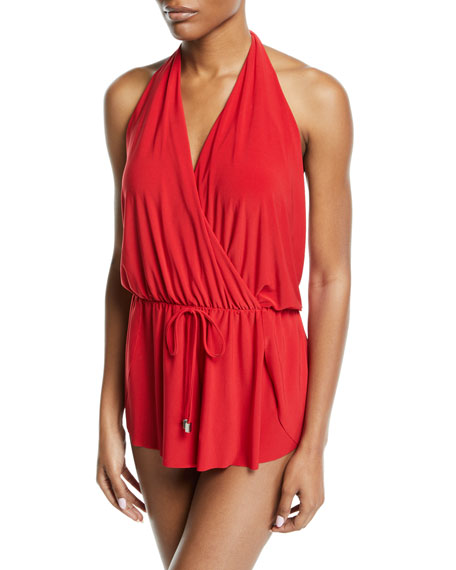 MAGICSUIT Bianca Halter Romper One-Piece Swimsuit, Plus Size in Red