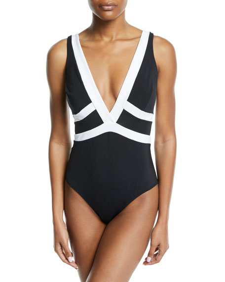 Classique Plunging One-Piece Swimsuit in Black
