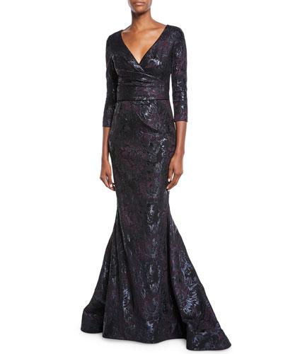 3/4-Sleeve Super-Stretch Jacquard Mermaid Dress