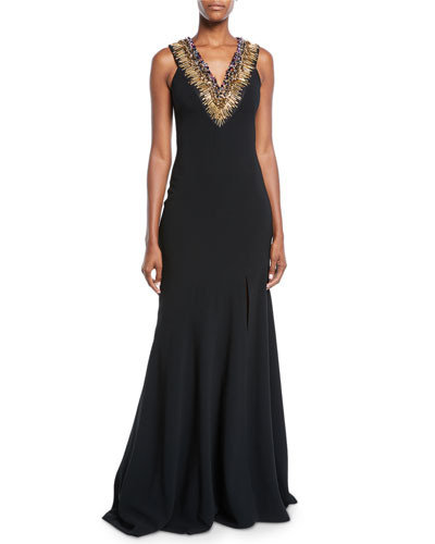 Jeweled Necklace Sleeveless Trumpet Gown