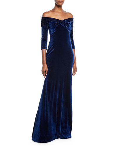 Velvet Crisscross Off-the-Shoulder Gown