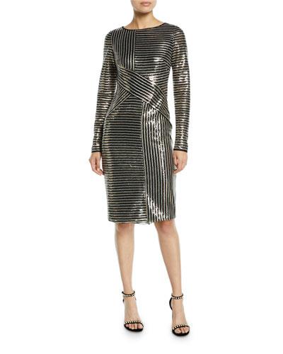 Long-Sleeve Asymmetric Sequin Striped Dress