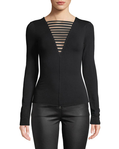 The Low Down Strappy Long-Sleeve Jersey Top