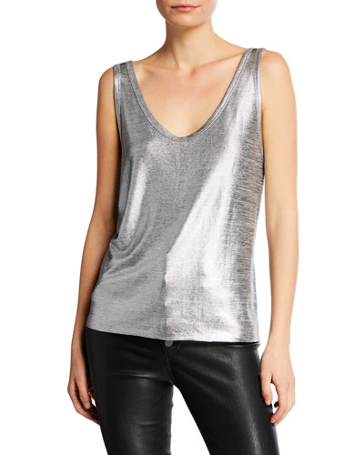 Colton Metallic Deep V-Neck Top