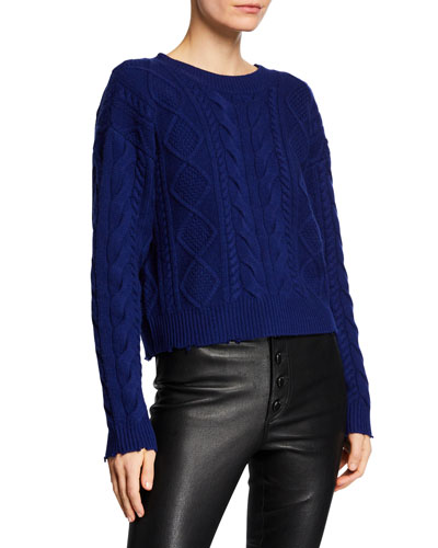 Zane Cable-Knit Cropped Wool-Cashmere Sweater