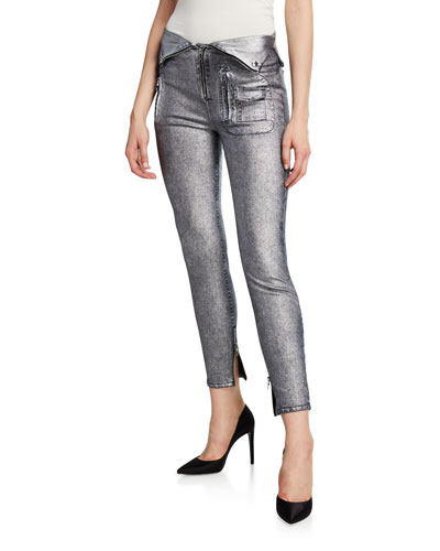 Diavolina Fold-Over Moto Skinny Pants
