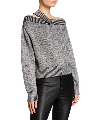 Beckett Off-Shoulder Metallic Sweater