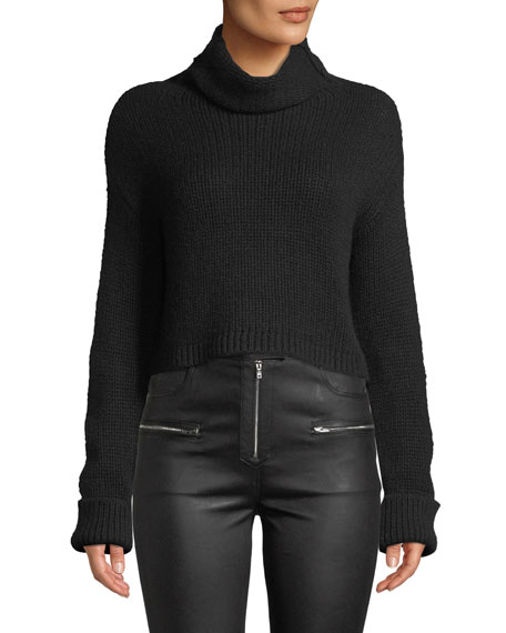 SABLYN Shay Cropped Cashmere Turtleneck Sweater in Black