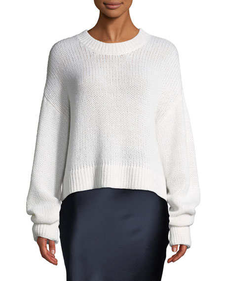 Mercy Cashmere Pullover Sweater in White