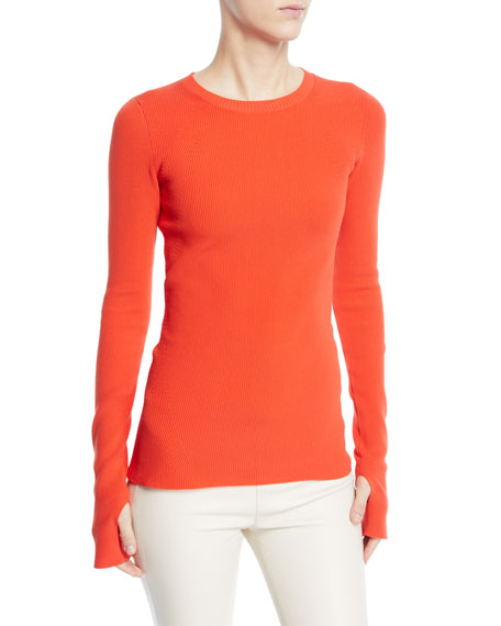 Helmut Lang Long-Sleeve Ribbed Knit Sweater