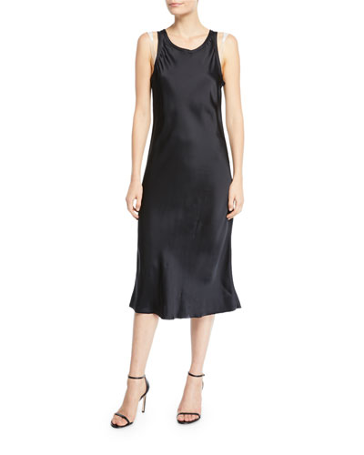 Raw-Edge Viscose Tank Dress with Strap Details