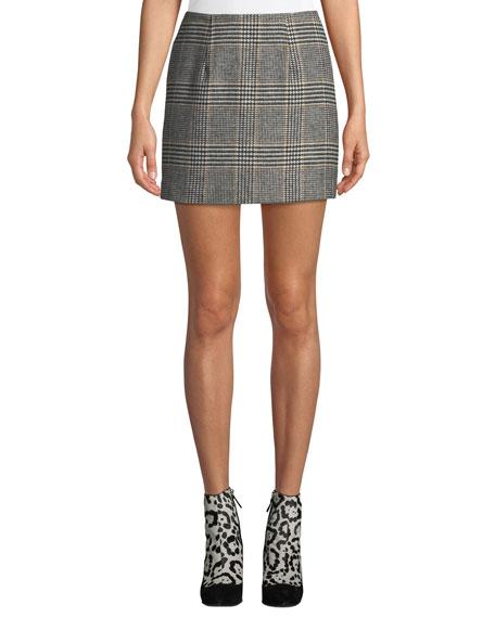 ASTR Raye Plaid Wool-Blend Mini Skirt in Black/ Mustard Plaid