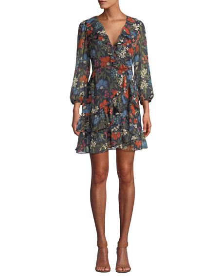 ASTR Cheyanne Floral-Print Ruffle Wrap Short Dress in Navy Multi Floral
