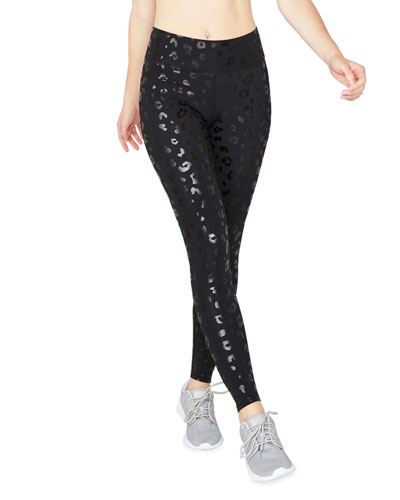 Leopard Foil Printed Tall Band Performance Leggings