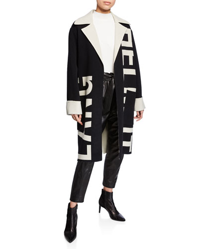 Logo Jacquard Oversized Wool Coat