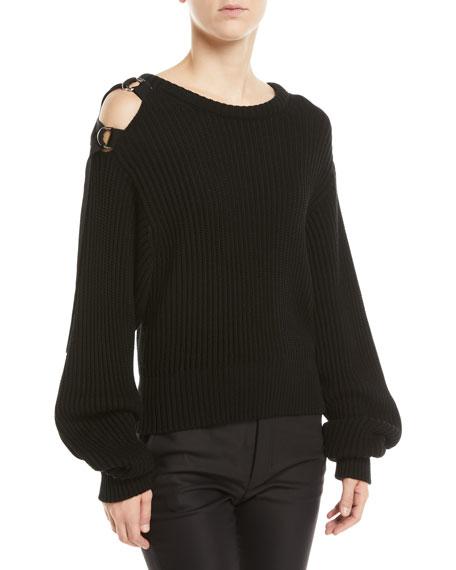 Helmut Lang Buckle-Shoulder Rib Knit Sweater