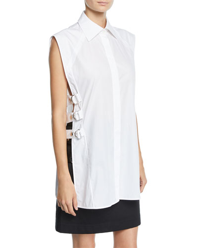 Pointed-Collar Blouse w/ Side Buckles