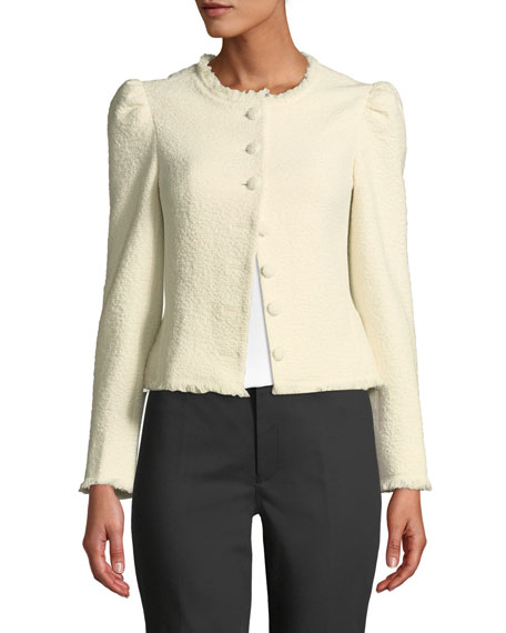 CLUB MONACO Cottons MILAH TEXTURED PUFF-SHOULDER CROPPED JACKET