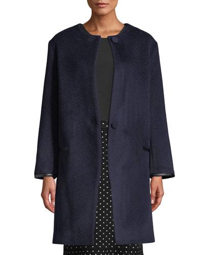 Gabita Collarless Two-Button Wool Coat