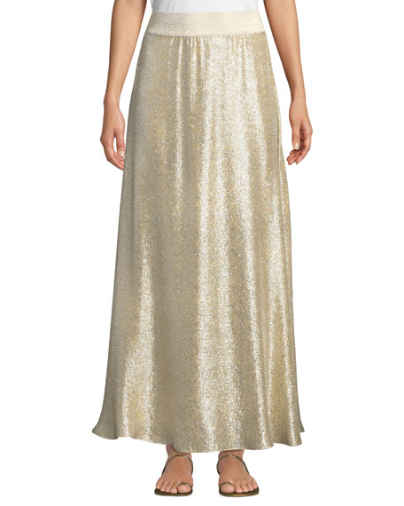 MARIE FRANCE VAN DAMME Bright Metallic A-Line Maxi Skirt Coverup in Yellow