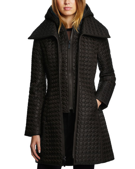 DAWN LEVY Gwen Circle-Quilt Double-Layer Coat W/ Hood in Storm