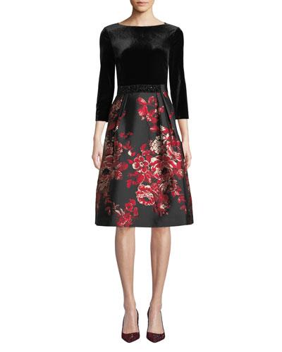 Velvet & Floral Taffeta Combo Dress