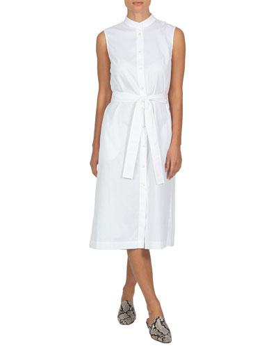 Pleated-Back Sleeveless Poplin Dress