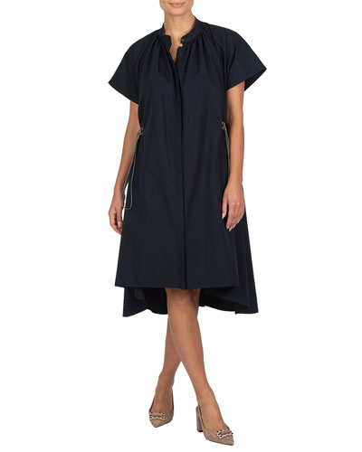 Poplin Drawstring-Waist Dress