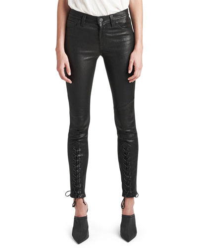 Nico Mid-Rise Super Skinny Leather Lace-Up Pants