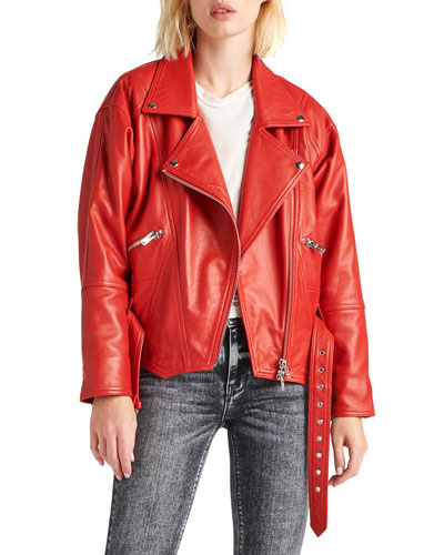 Cropped Moto Leather Jacket