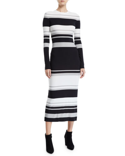 Long-Sleeve Striped Bodycon Dress
