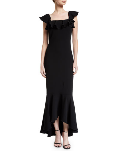 Caprice Flutter-Sleeve High-Low Gown
