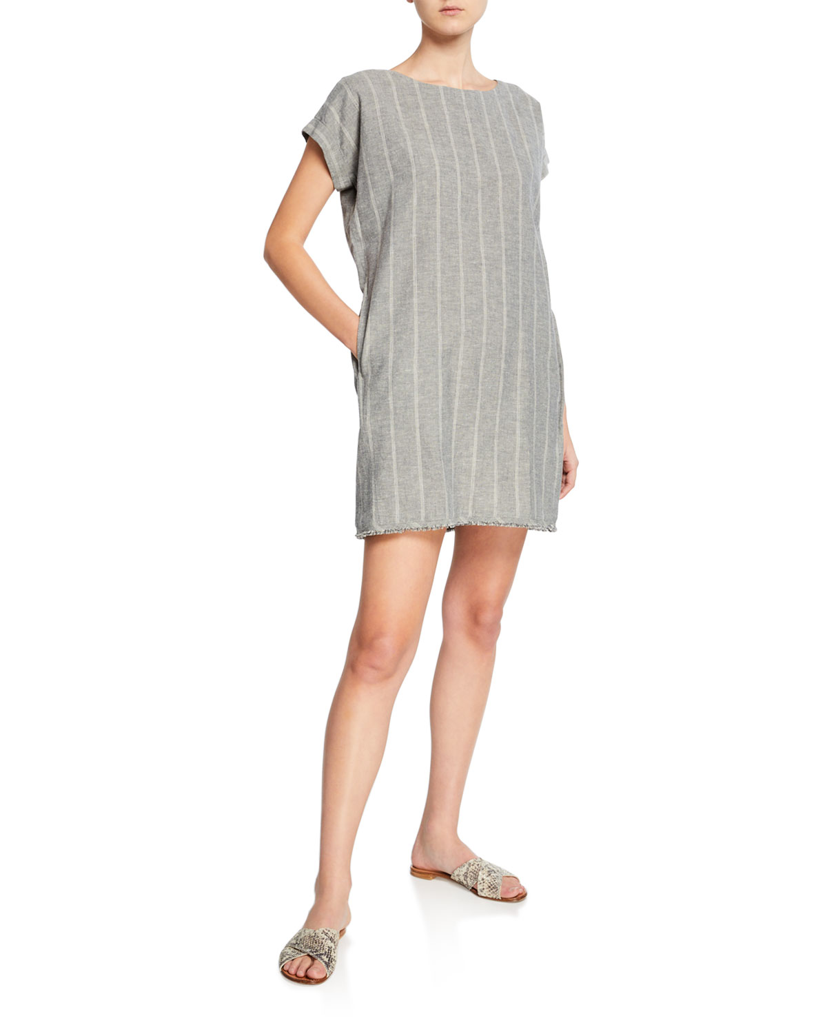 f4af029896c46 Eileen Fisher Plus Size Striped Hemp Mini Sheath Dress